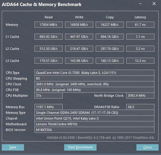 Lenovo ThinkCentre M910z AIO AIDA64 Memory