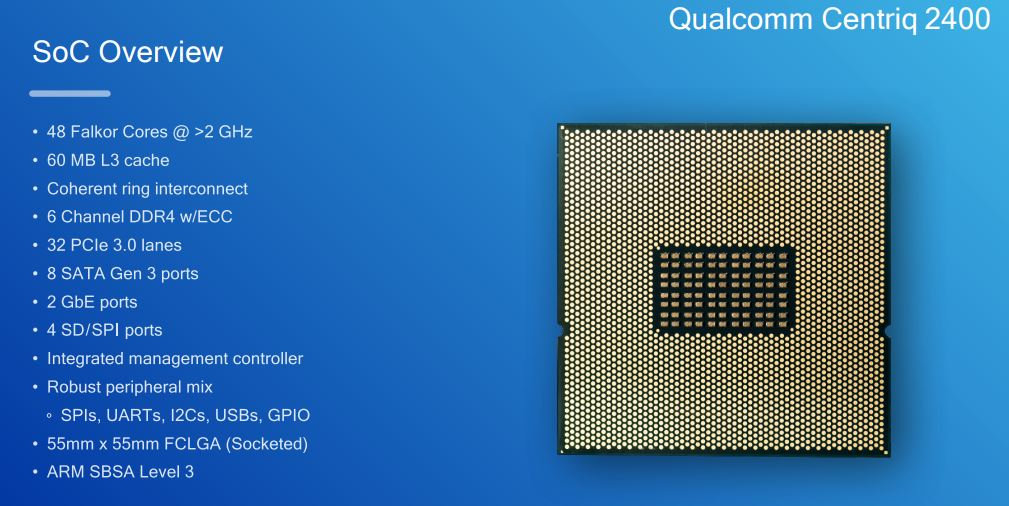 Qualcomm Centriq 2400 Clock Speed And L3 Cache Sizes