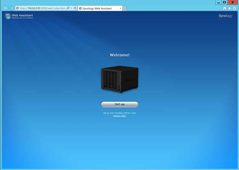 Synology DS918+ Web Assistant