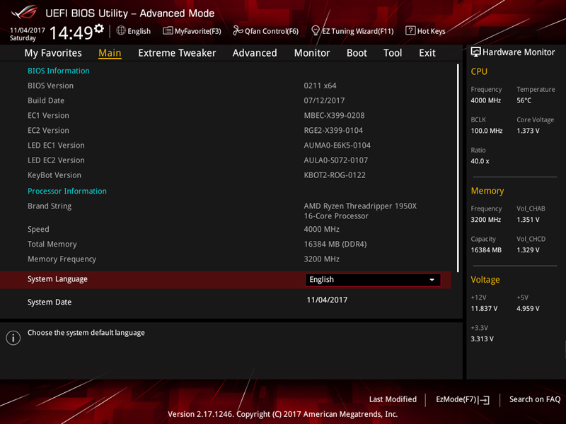 ASUS X399 Zenith Extreme BIOS 4