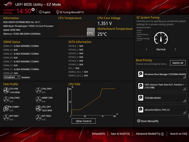 ASUS X399 Zenith Extreme BIOS EZ Mode