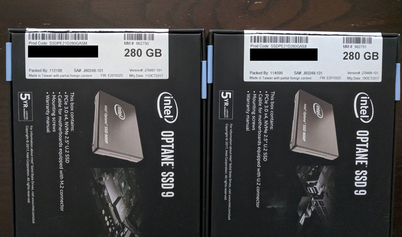 Intel Optane 900p 280GB Side By Side Models