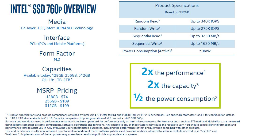 Intel SSD 760p Product Overview