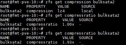 ZFS Get Compressratio Results LZ4