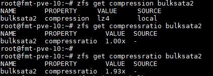 ZFS Get Compressratio Results LZ4