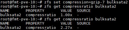 ZFS Get Compressratio Results Gzip 7