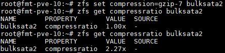 ZFS Get Compressratio Results Gzip 7