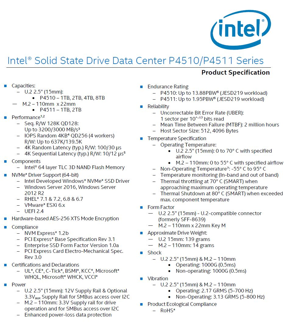 Intel DC P4510 And P4511 Product Specifications