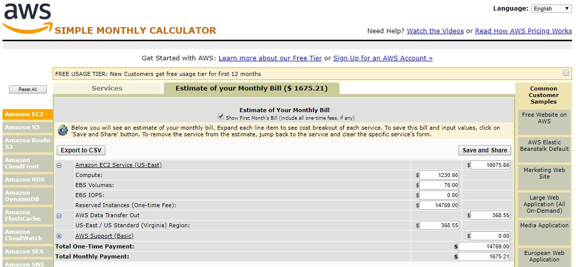 AWS Calculator 1 Year Partial Upfront