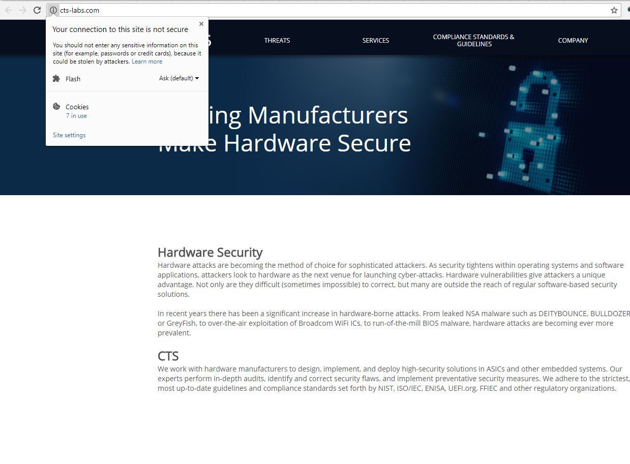 CTS Labs Site Not Https Validated