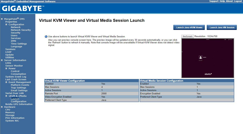 Gigabyte Java BMC IPMI Web GUI
