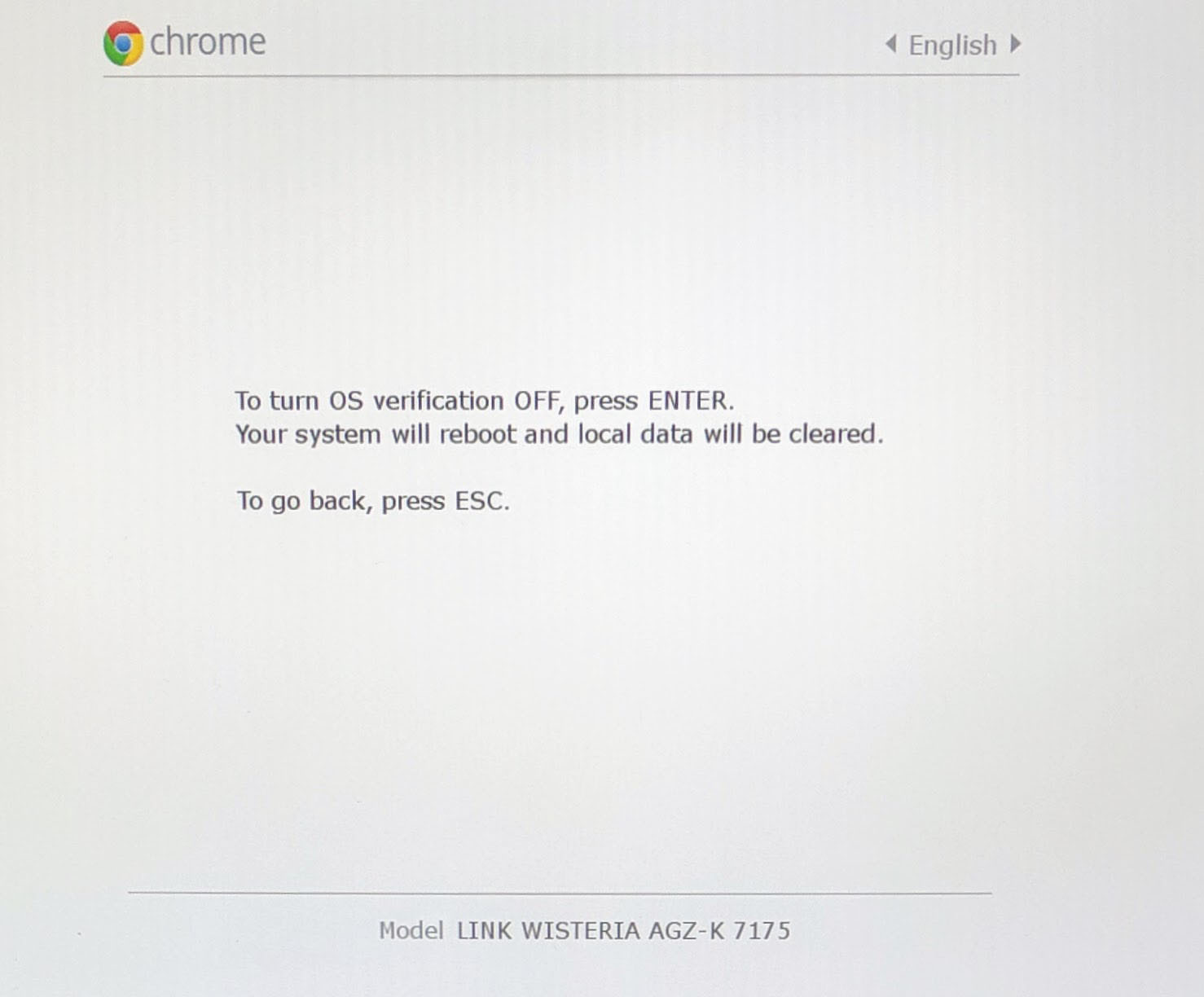 Google Chrome OS Turn OS Verification Off