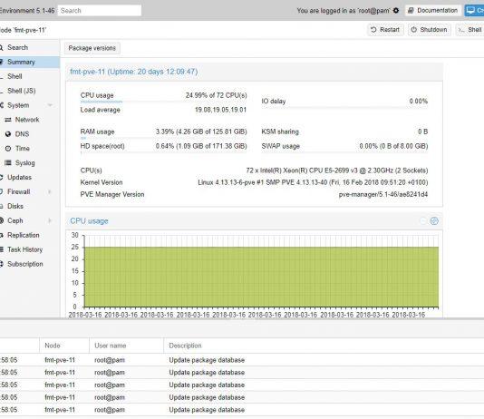 Proxmox VE 5 Web UI