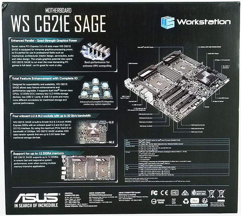 ASUS WS C621E SAGE Box Back
