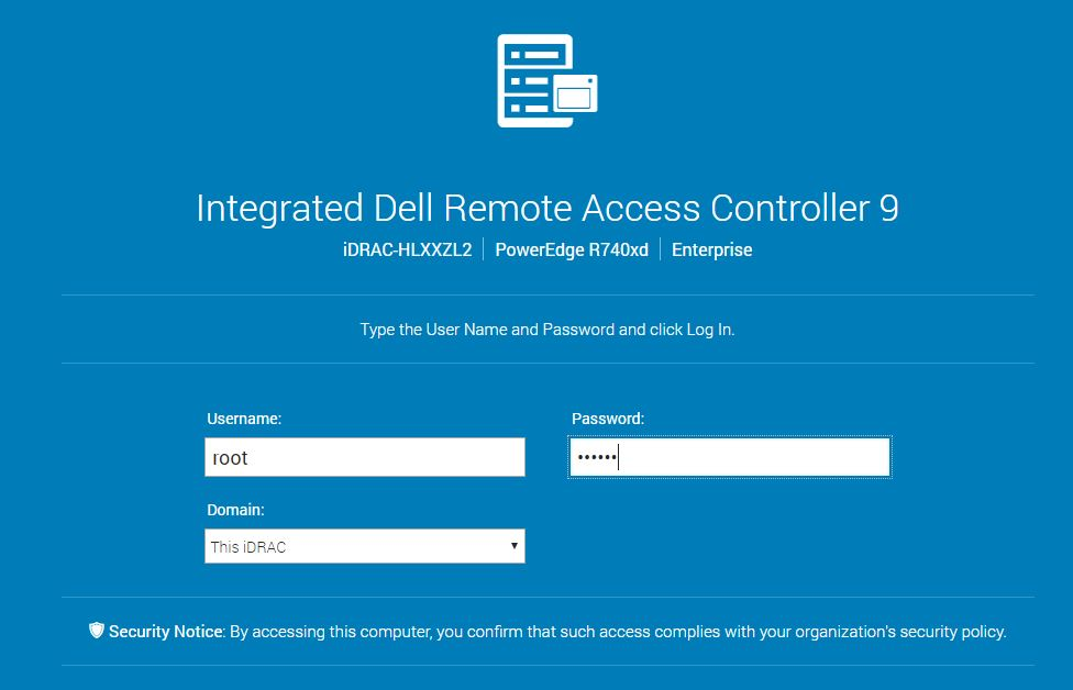 Dell EMC PowerEdge R740xd IDRAC Log In Screen