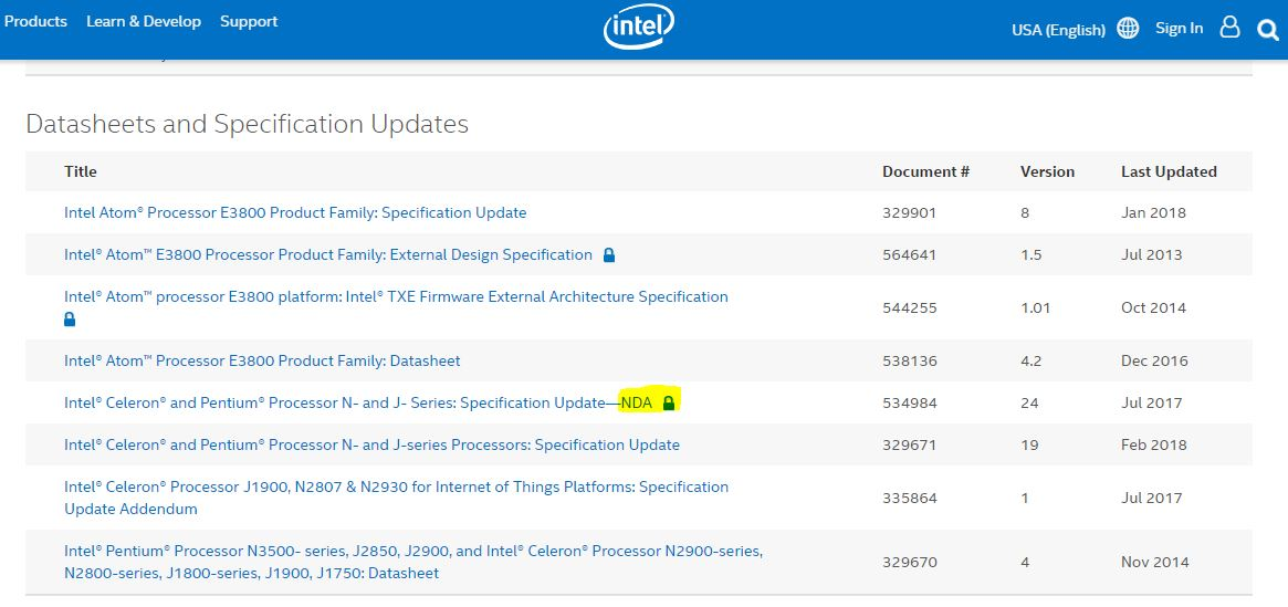 Intel Datasheets And Specification Updates For Bay Trail NDA April 2018