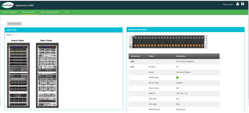 Supermicro RSD 2.1 Dashboard