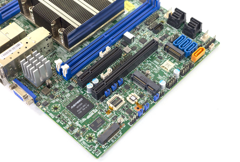 Supermicro X11SDV 16C TP8F PCIe And M2 Angle