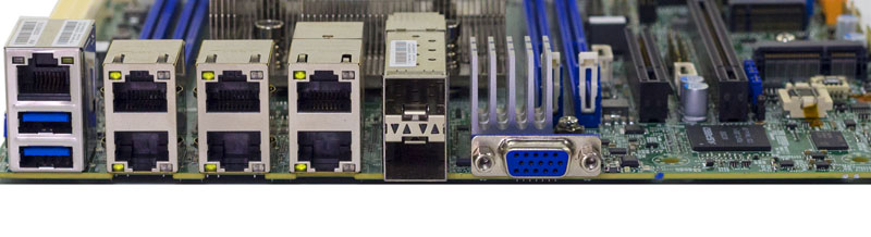 Supermicro X11SDV 16C TP8F Rear IO