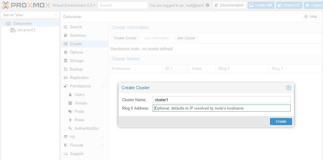 Proxmox VE 5 Cluster Create GUI