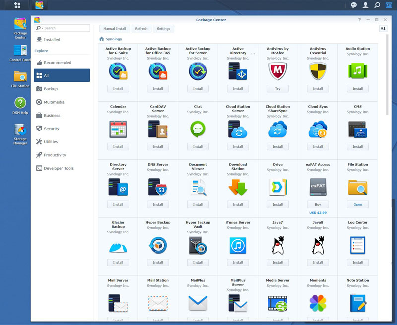 Synology DS1618+ DSM Packages