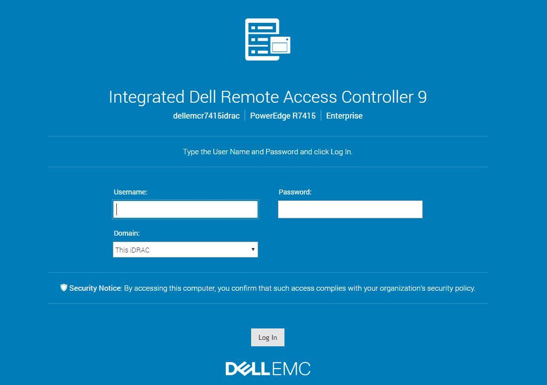 Dell EMC PowerEdge R7415 IDRAC 9 Login