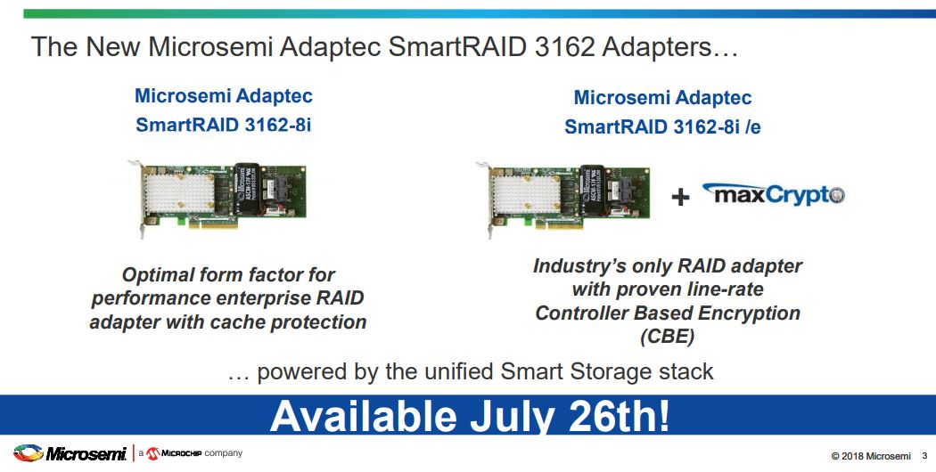 New Microsemi Adaptec SmartRAID 3162