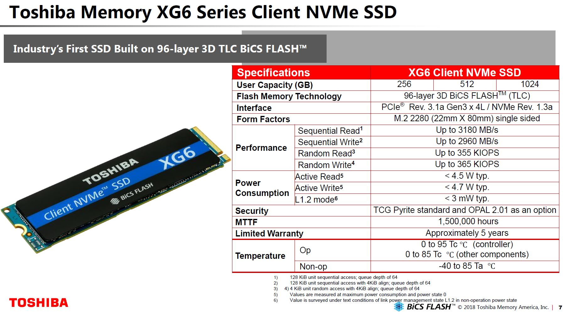Toshiba XG6 NVMe SSD Specs