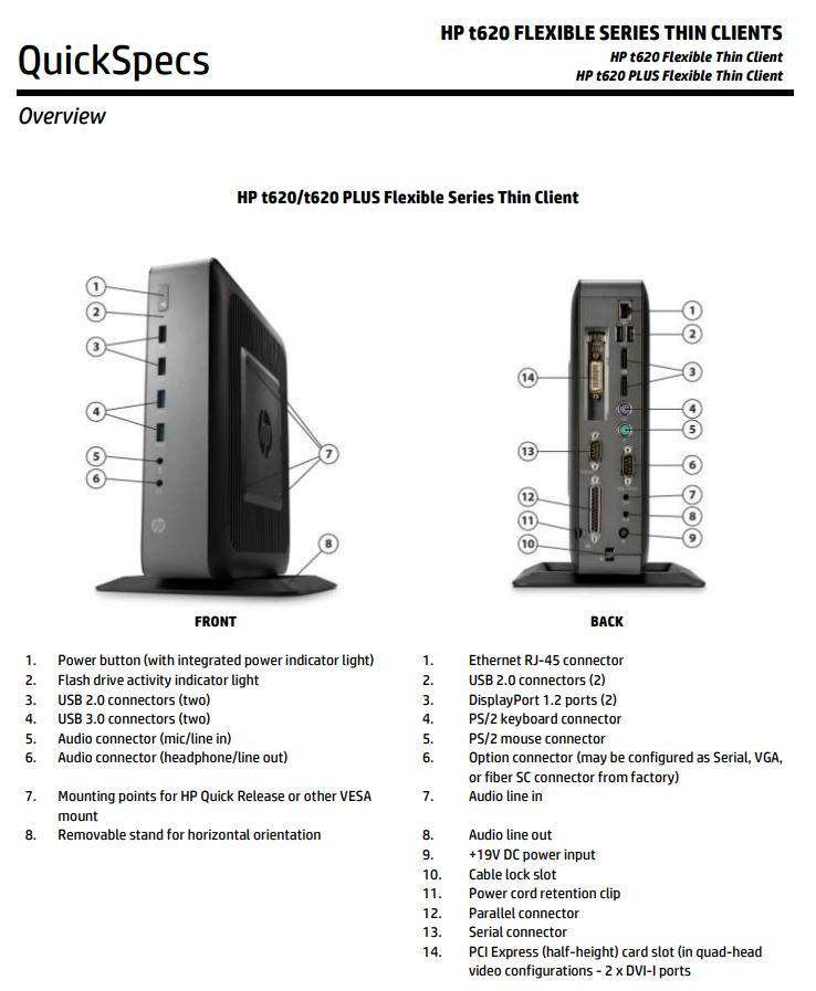 HP T620 Thin Client Quick Specs