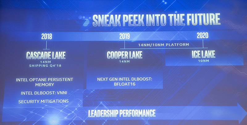 Intel Xeon Roadmap Q3 2018
