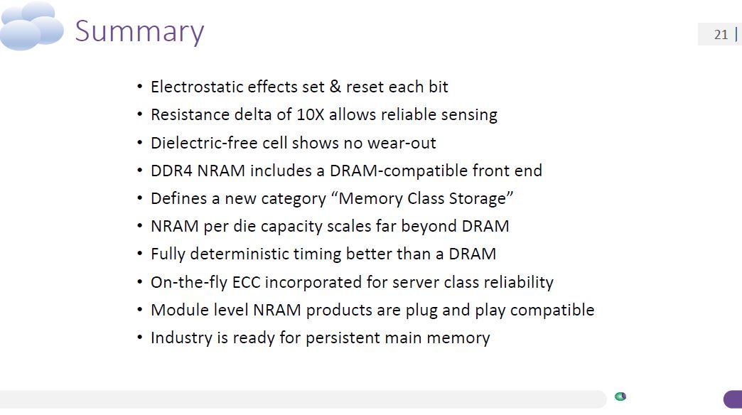 Nantero Carbon Nanotube NRAM Summary