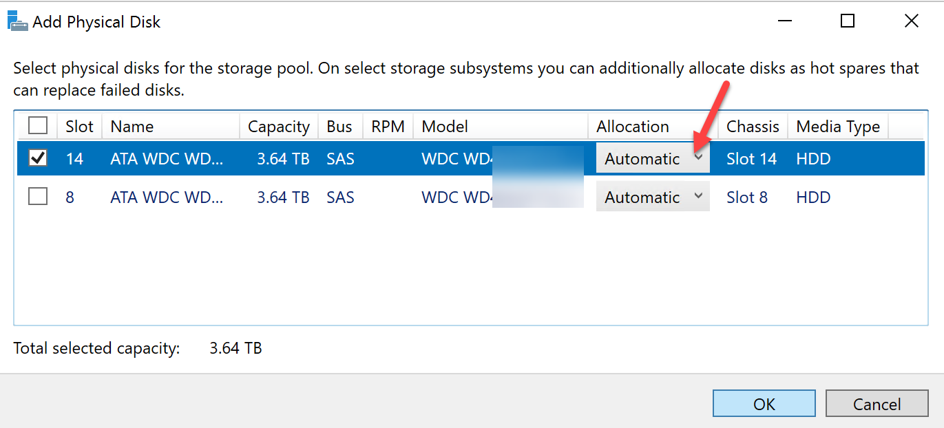 Windows Storage Server 2016 Storage Spaces Newly Added HD As Automatic For Allocation