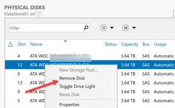 Windows Storage Server 2016 Storage Spaces Remove Failed Drive 1