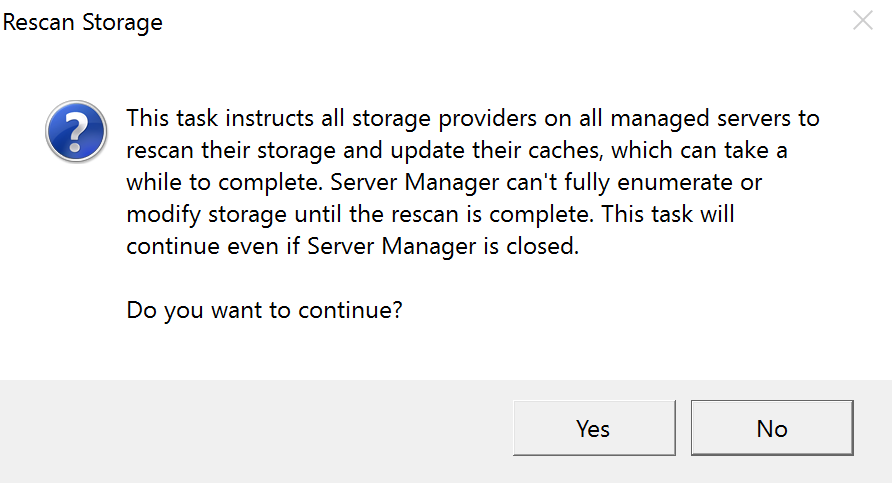 Windows Storage Server 2016 Storage Spaces Rescan Storage 2