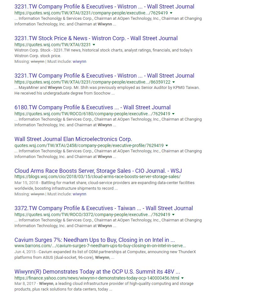 wywinn wall street journal search