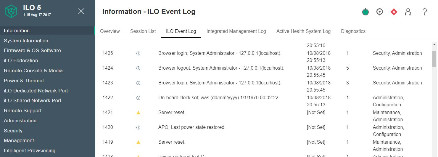 HPE ILO5 User Logging