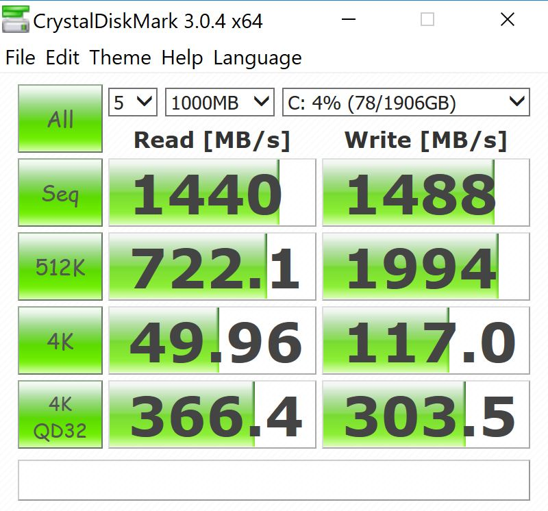Lenovo ThinkPad P1 CrystalDiskMark