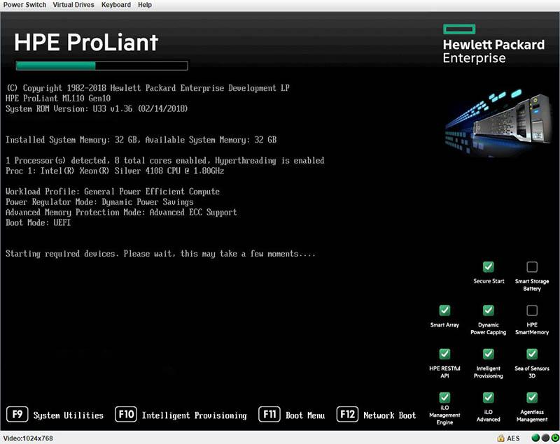 HPE ProLiant ML110 Gen10 Boot