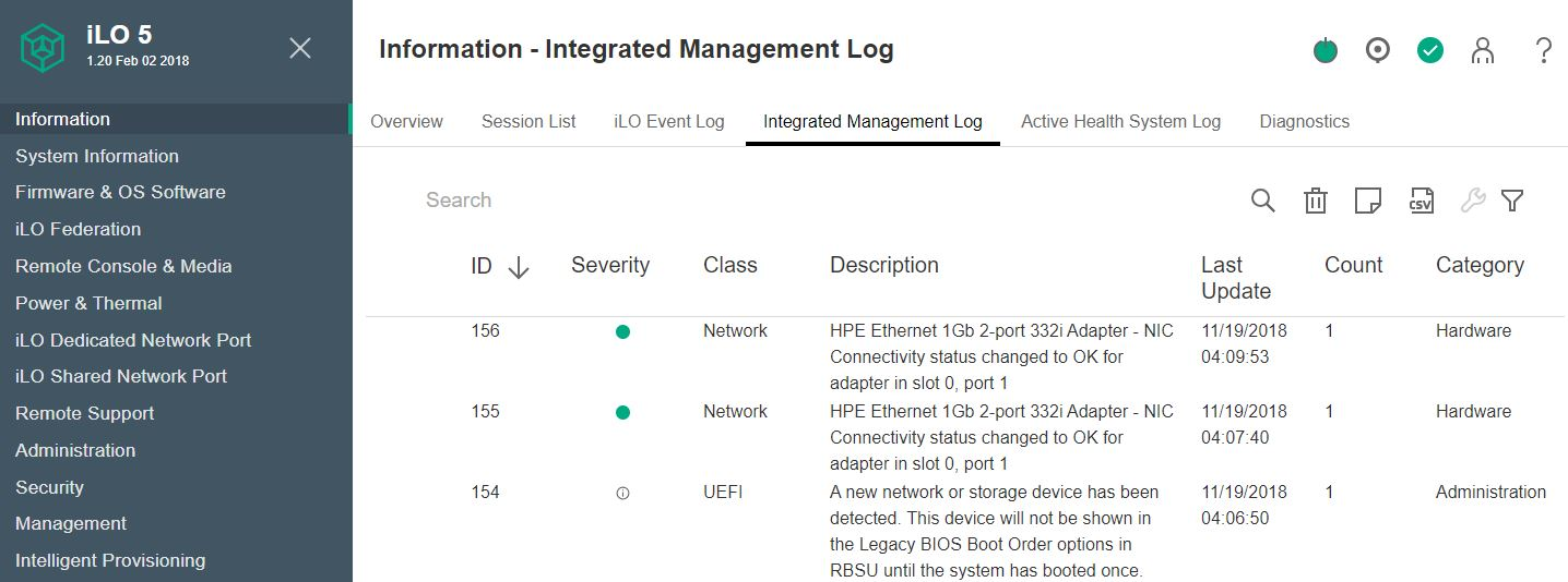 HPE ILO 5 Integrated Management Log