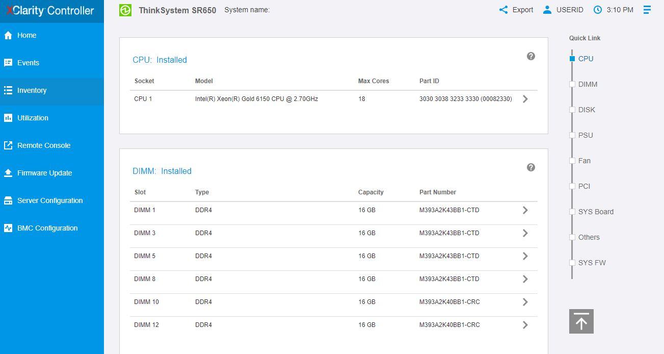Lenovo XClarity ThinkSystem SR650 Inventory