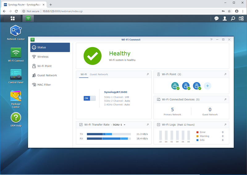 Synology MR2200ac Add Wi Fi Status