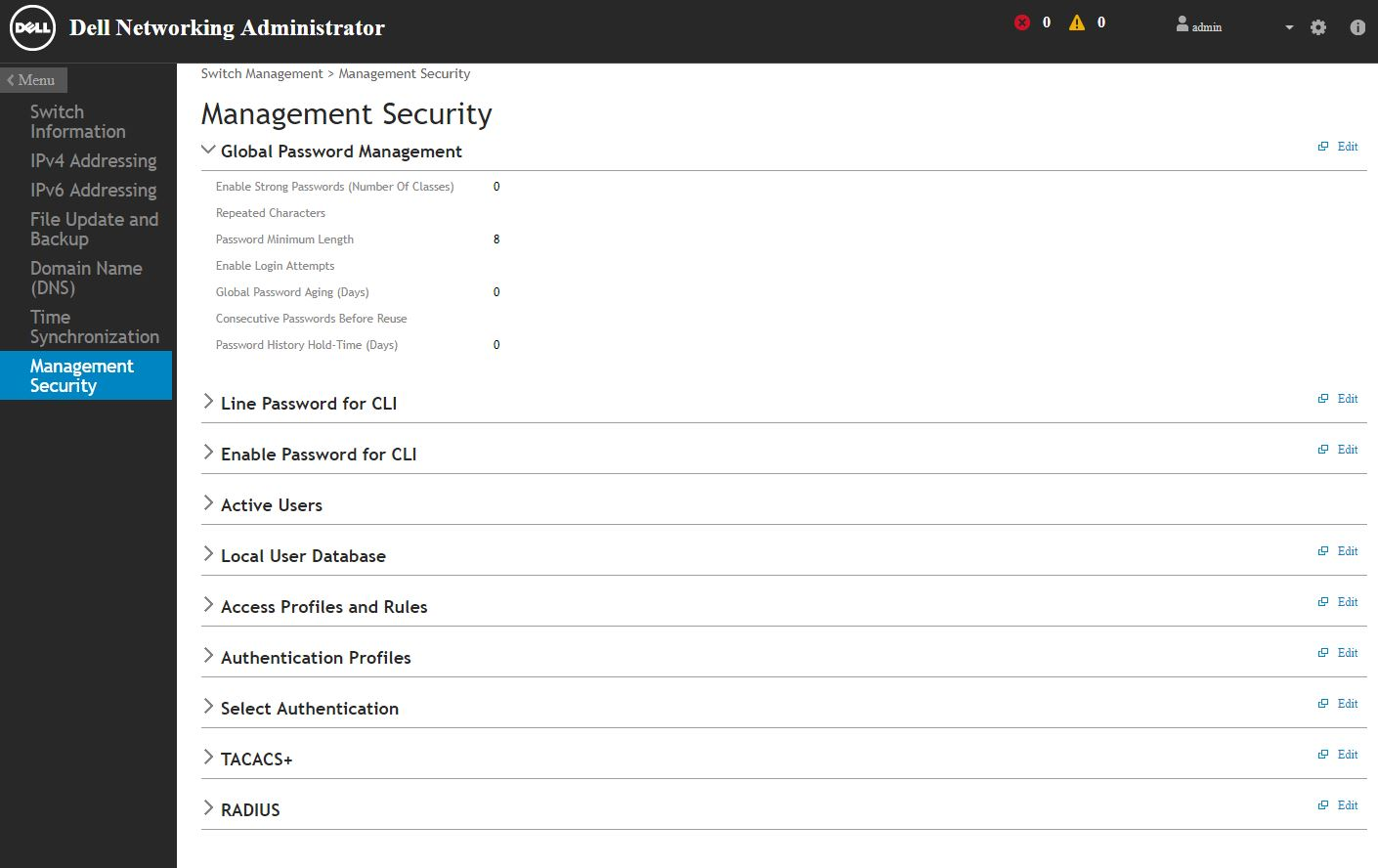 Dell Networking X Series Management Security