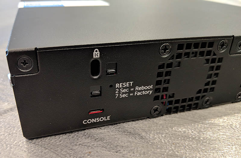 Dell Networking X4012 Rear Console Reset Lock