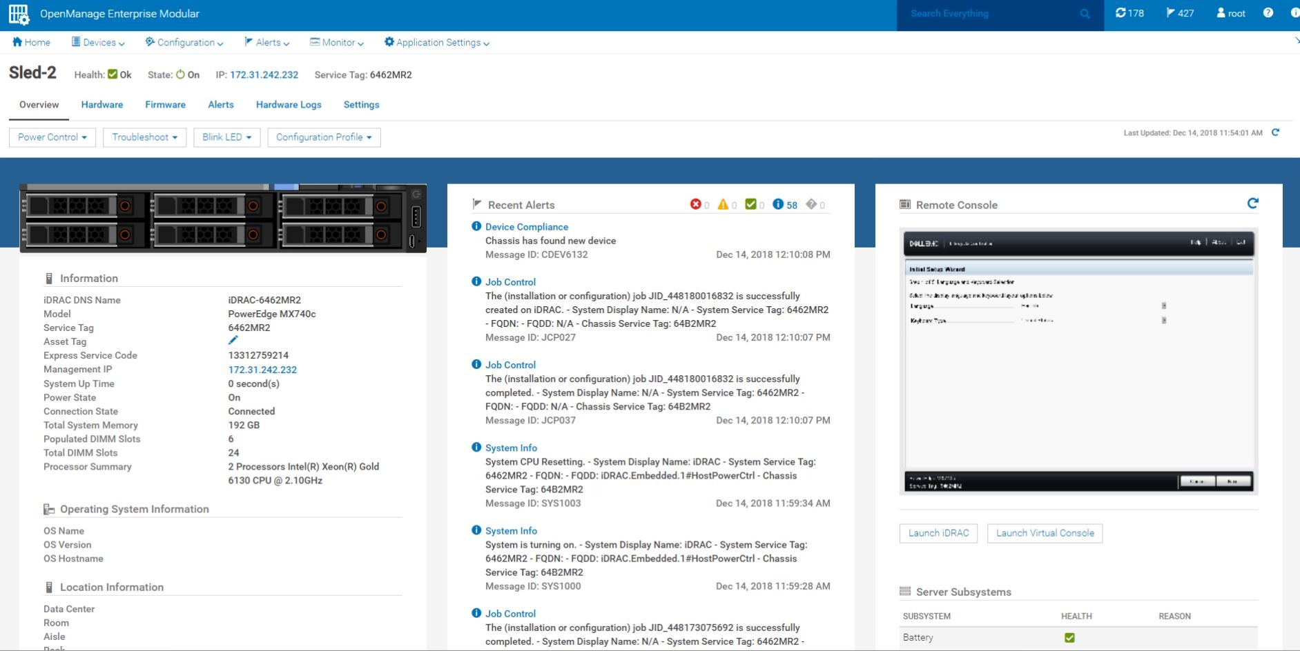 Dell EMC PowerEdge MX Management Compute Blade Dashboard Example