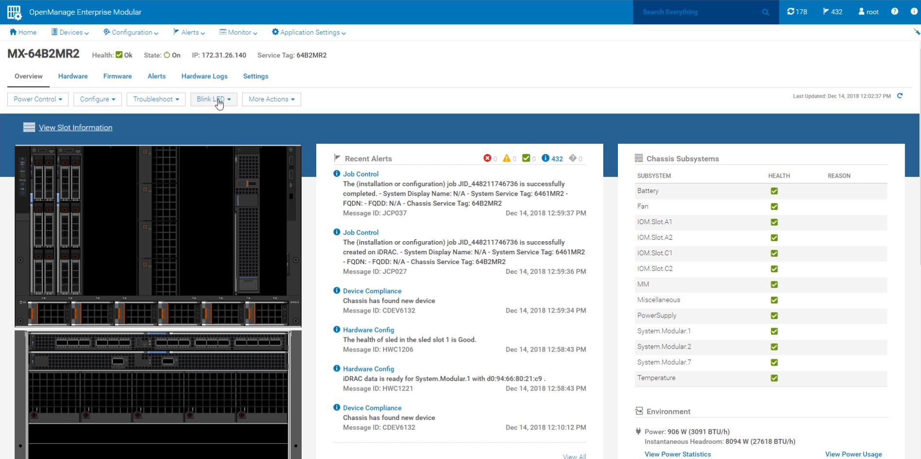 Dell EMC PowerEdge MX Monitor Chassis Management Dashboard