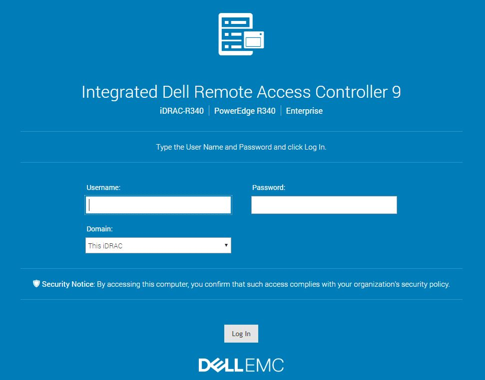 Dell EMC PowerEdge R340 IDRAC 9 Login