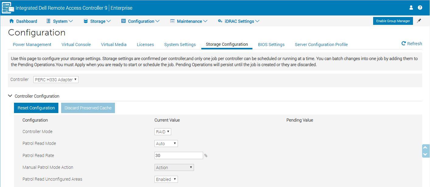 Dell EMC PowerEdge T340 IDRAC 9 PERC H330 Virtual Disk Setup