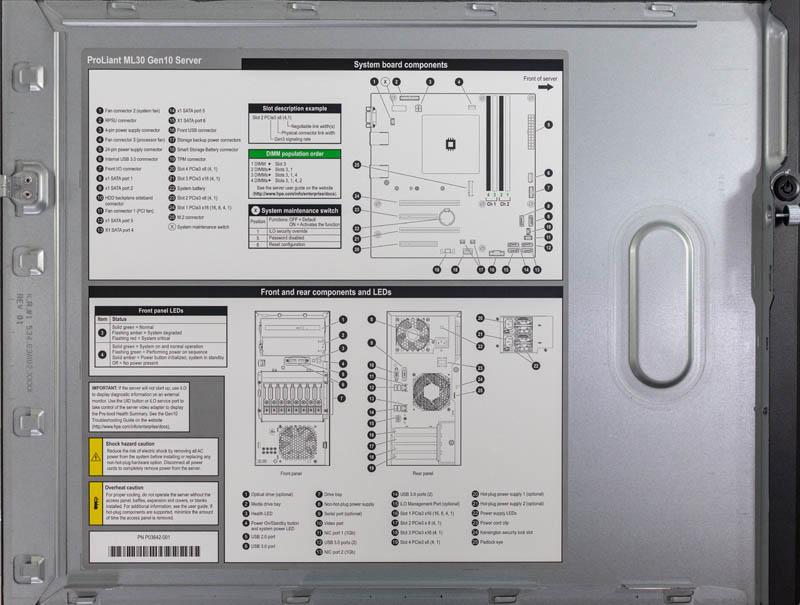 HPE ProLiant ML30 Gen10 Inside Cover