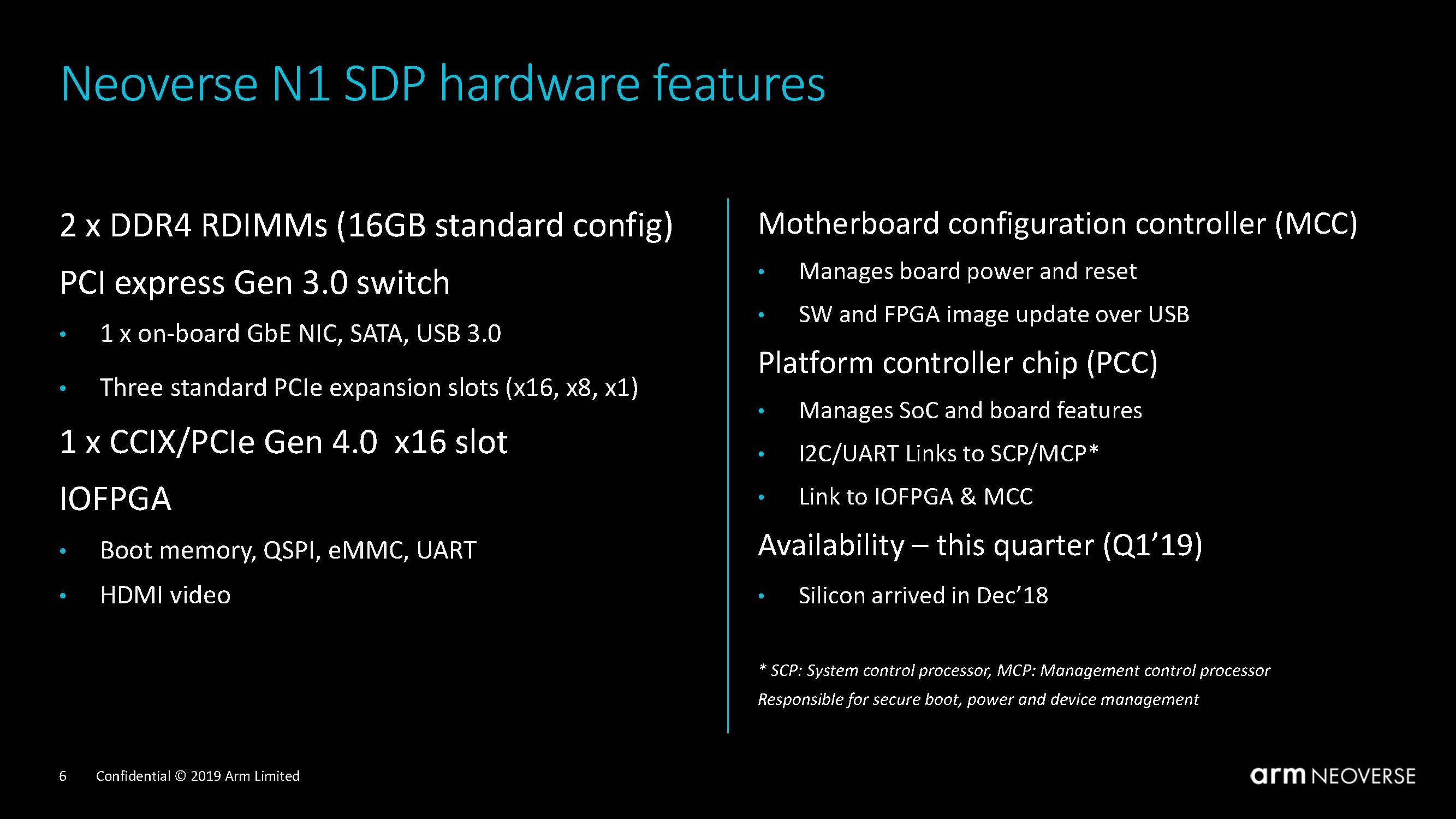 Arm Neoverse N1 System Development Platform Features