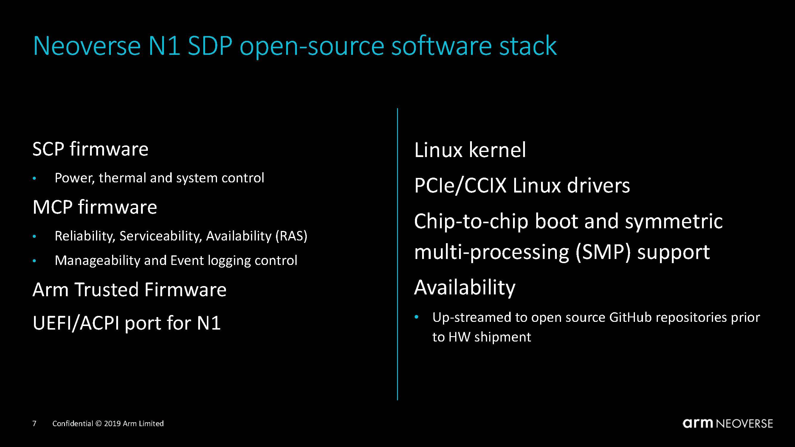 Arm Neoverse N1 System Development Platform Software Stack